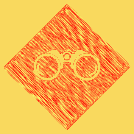 Binocular sign illustration. Vector. Red scribble icon obtained as a result of subtraction rhomb and path. Royal yellow background. Stock Photo