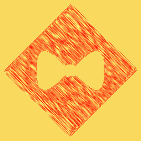 Bow Tie icon. Vector. Red scribble icon obtained as a result of subtraction rhomb and path. Royal yellow background. Stock Photo