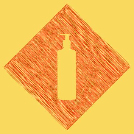 Gel, espuma o jabón líquido. Dispensador bomba botella de plástico silueta. Vector. Icono de garabato rojo obtenido como resultado de restar rombo y camino. Fondo amarillo real.