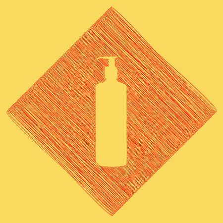 Gel, Foam Or Liquid Soap. Dispenser Pump Plastic Bottle silhouette. Vector. Red scribble icon obtained as a result of subtraction rhomb and path. Royal yellow background. Stock Photo