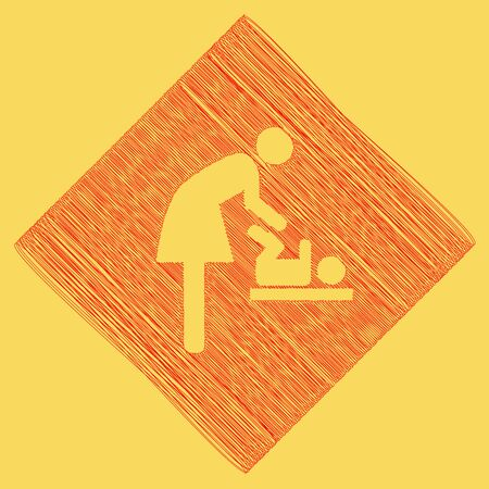 Women and baby symbol, baby changing. Vector. Red scribble icon obtained as a result of subtraction rhomb and path. Royal yellow background. Stock Photo