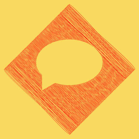 Speech bubble icon. Vector. Red scribble icon obtained as a result of subtraction rhomb and path. Royal yellow background.