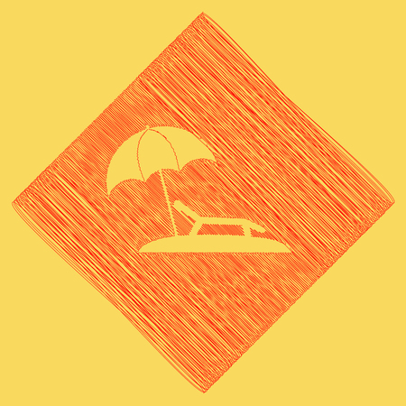 Tropical resort beach. Sunbed Chair sign. Vector. Red scribble icon obtained as a result of subtraction rhomb and path. Royal yellow background.