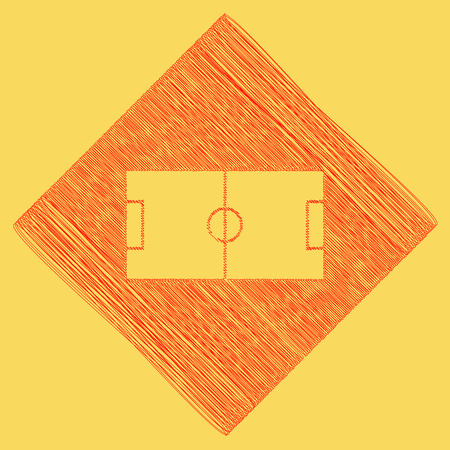 Soccer field. Vector. Red scribble icon obtained as a result of subtraction rhomb and path. Royal yellow background.