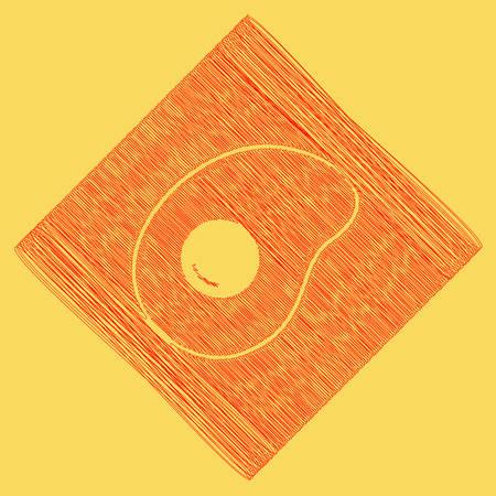 diamond plate: Omelet sign. Flat designed style icon. Vector. Red scribble icon obtained as a result of subtraction rhomb and path. Royal yellow background.