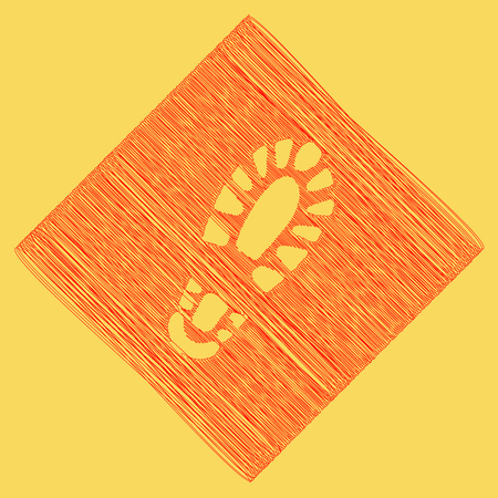 Footprint boot sign. Vector. Red scribble icon obtained as a result of subtraction rhomb and path. Royal yellow background. Illustration