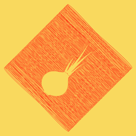 Onion sign. Salad ingredient. Healthy vegetable. Vector. Red scribble icon obtained as a result of subtraction rhomb and path. Royal yellow background.