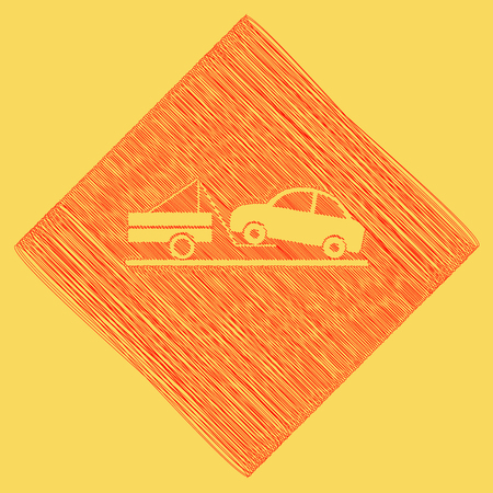 Tow truck sign. Vector. Red scribble icon obtained as a result of subtraction rhomb and path. Royal yellow background. Stock Photo