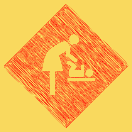 Women and baby symbol, baby changing. Vector. Red scribble icon obtained as a result of subtraction rhomb and path. Royal yellow background. Illustration
