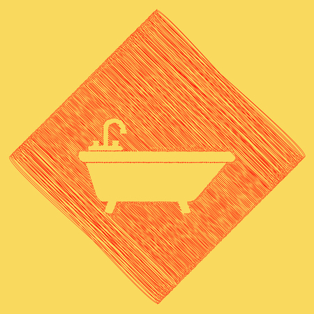 Bathtub sign illustration. Vector. Red scribble icon obtained as a result of subtraction rhomb and path. Royal yellow background. Illustration