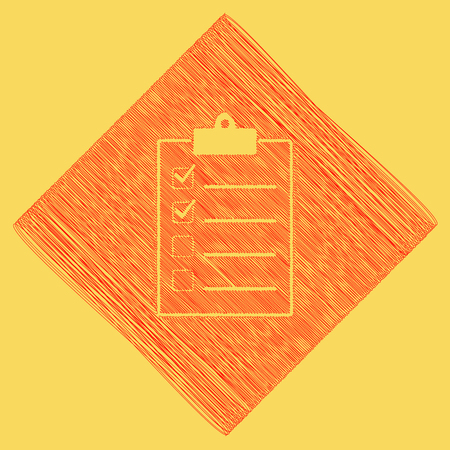 conformity: Checklist sign illustration. Vector. Red scribble icon obtained as a result of subtraction rhomb and path. Royal yellow background.