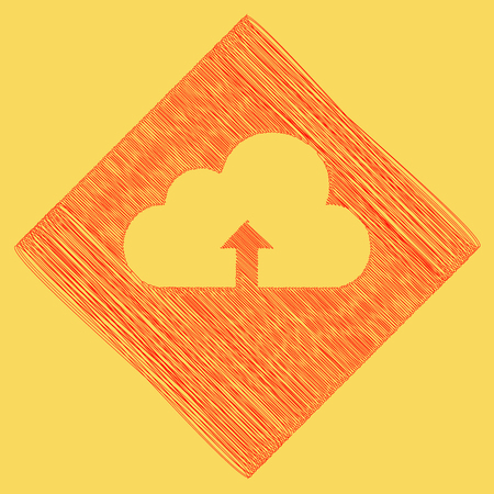 Cloud technology sign. Vector. Red scribble icon obtained as a result of subtraction rhomb and path. Royal yellow background. Illustration