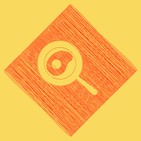 Omelet at pan icon. Vector. Red scribble icon obtained as a result of subtraction rhomb and path. Royal yellow background.
