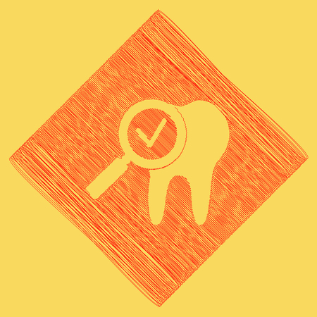 Tooth icon with a;;ow sign. Vector. Red scribble icon obtained as a result of subtraction rhomb and path. Royal yellow background. Illustration