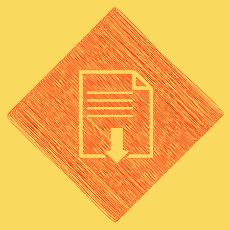 File download sign. Vector. Red scribble icon obtained as a result of subtraction rhomb and path. Royal yellow background. 向量圖像