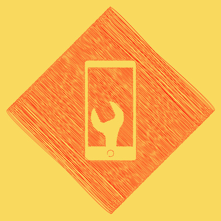Phone icon with settings. Vector. Red scribble icon obtained as a result of subtraction rhomb and path. Royal yellow background.