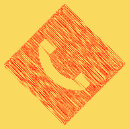 Phone sign illustration. Vector. Red scribble icon obtained as a result of subtraction rhomb and path. Royal yellow background.