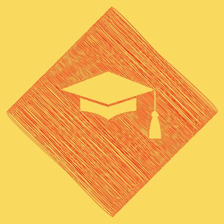 Mortar Board or Graduation Cap, Education symbol. Vector. Red scribble icon obtained as a result of subtraction rhomb and path. Royal yellow background. Illustration