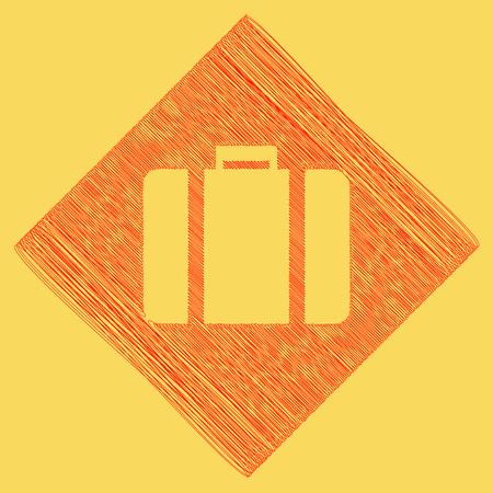 Briefcase sign illustration. Vector. Red scribble icon obtained as a result of subtraction rhomb and path. Royal yellow background. Illustration