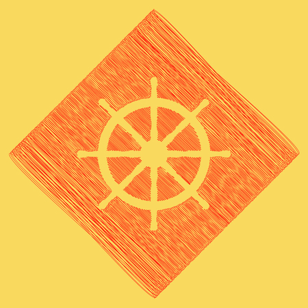 schooner: Ship wheel sign. Vector. Red scribble icon obtained as a result of subtraction rhomb and path. Royal yellow background.