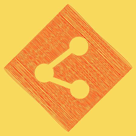 pc icon: Share sign illustration. Vector. Red scribble icon obtained as a result of subtraction rhomb and path. Royal yellow background. Illustration