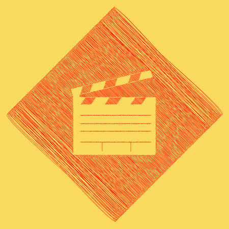 flick: Film clap board cinema sign. Vector. Red scribble icon obtained as a result of subtraction rhomb and path. Royal yellow background.