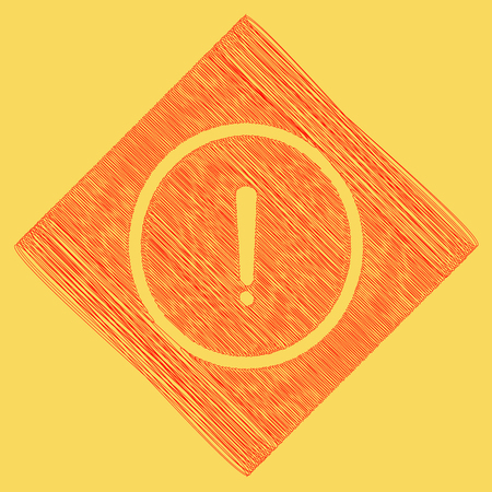 Exclamation mark sign. Vector. Red scribble icon obtained as a result of subtraction rhomb and path. Royal yellow background.