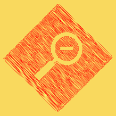 icons site search: Zoom sign illustration. Vector. Red scribble icon obtained as a result of subtraction rhomb and path. Royal yellow background. Illustration