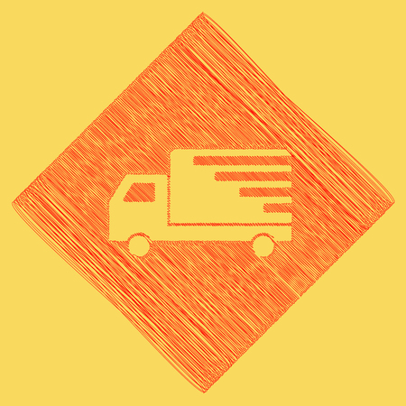 Delivery sign illustration. Vector. Red scribble icon obtained as a result of subtraction rhomb and path. Royal yellow background. Illustration
