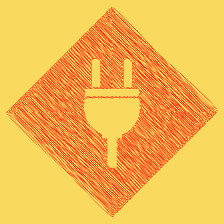 power cables: Socket sign illustration. Vector. Red scribble icon obtained as a result of subtraction rhomb and path. Royal yellow background. Illustration