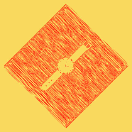 Watch sign illustration. Vector. Red scribble icon obtained as a result of subtraction rhomb and path. Royal yellow background.