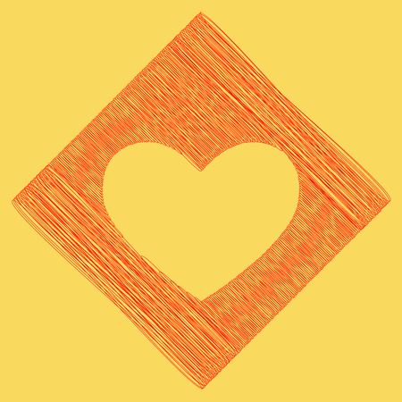 cor: Tie sign. Vector. Red scribble icon obtained as a result of subtraction rhomb and path. Royal yellow background.