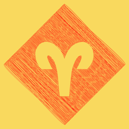 Aries sign illustration. Vector. Red scribble icon obtained as a result of subtraction rhomb and path. Royal yellow background.