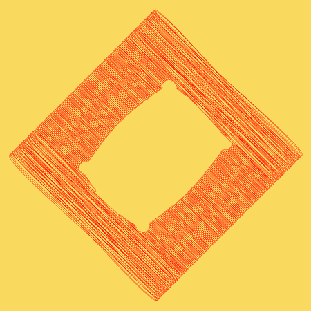 Pillow sign illustration. Vector. Red scribble icon obtained as a result of subtraction rhomb and path. Royal yellow background. Illustration