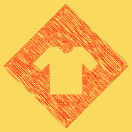 T-shirt sign illustration. Vector. Red scribble icon obtained as a result of subtraction rhomb and path. Royal yellow background. Illustration