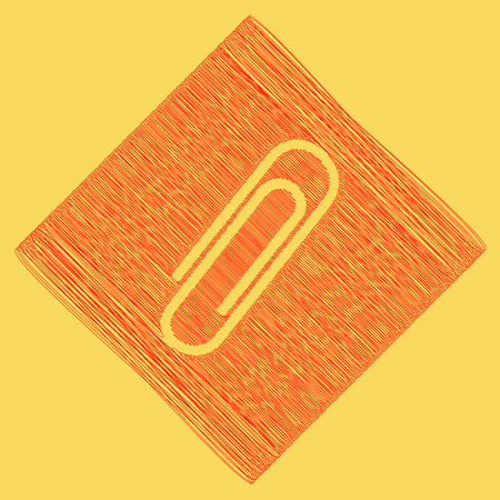 Clip sign illustration. Vector. Red scribble icon obtained as a result of subtraction rhomb and path. Royal yellow background. Illustration