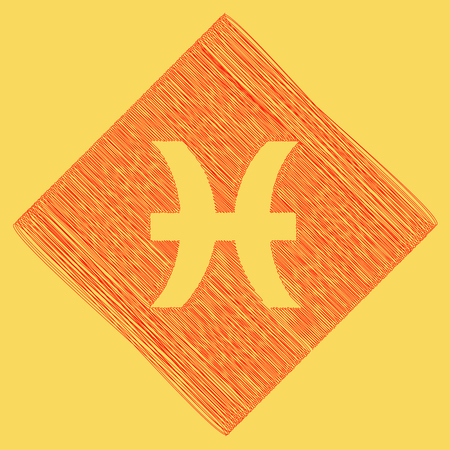 zodiacal symbol: Pisces sign illustration. Vector. Red scribble icon obtained as a result of subtraction rhomb and path. Royal yellow background.