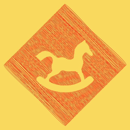 Horse toy sign. Vector. Red scribble icon obtained as a result of subtraction rhomb and path. Royal yellow background. Illustration