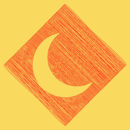 Moon sign illustration. Vector. Red scribble icon obtained as a result of subtraction rhomb and path. Royal yellow background.