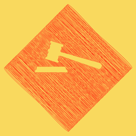 Justice hammer sign. Vector. Red scribble icon obtained as a result of subtraction rhomb and path. Royal yellow background. Illustration