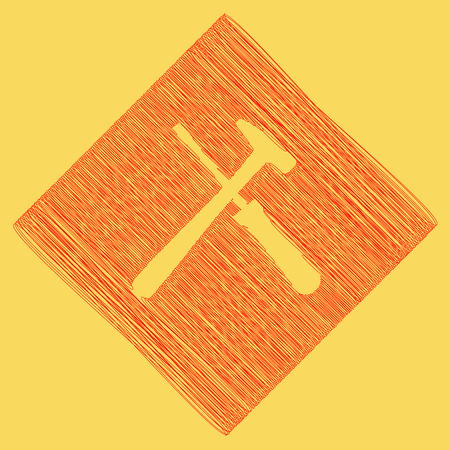 Tools sign illustration. Vector. Red scribble icon obtained as a result of subtraction rhomb and path. Royal yellow background. Çizim