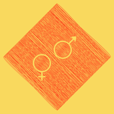 Sex symbol sign. Vector. Red scribble icon obtained as a result of subtraction rhomb and path. Royal yellow background. Illustration