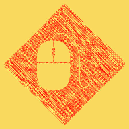 Mouse sign illustration. Vector. Red scribble icon obtained as a result of subtraction rhomb and path. Royal yellow background. Illustration