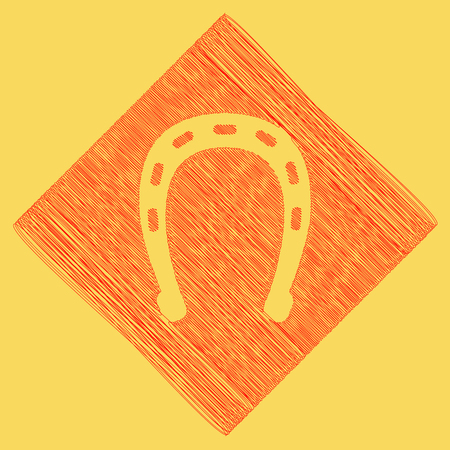 Horseshoe sign illustration. Vector. Red scribble icon obtained as a result of subtraction rhomb and path. Royal yellow background.
