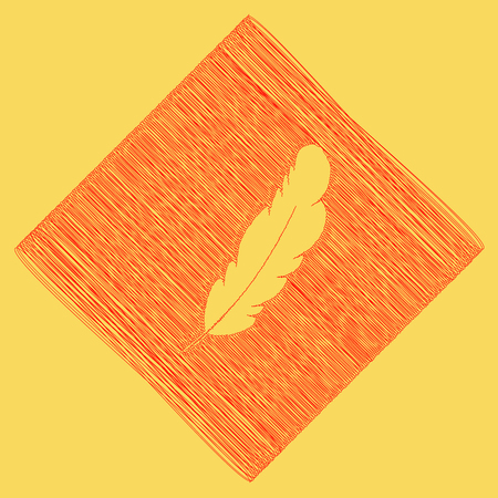 Feather sign illustration. Vector. Red scribble icon obtained as a result of subtraction rhomb and path. Royal yellow background. Illustration