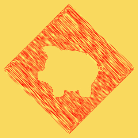 Pig money bank sign. Vector. Red scribble icon obtained as a result of subtraction rhomb and path. Royal yellow background.