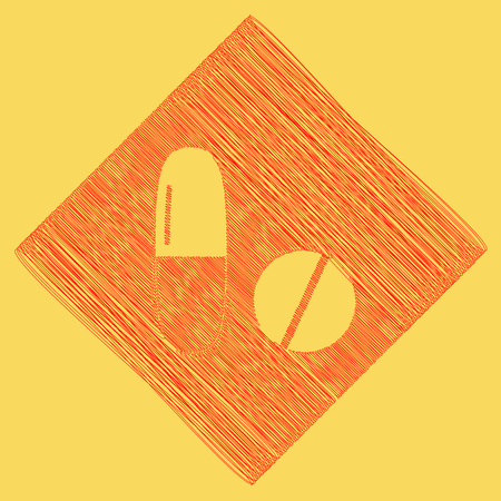 Medical pills sign. Vector. Red scribble icon obtained as a result of subtraction rhomb and path. Royal yellow background. Illustration