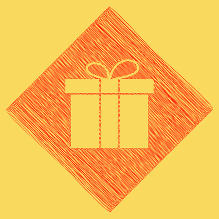 Gift box sign. Vector. Red scribble icon obtained as a result of subtraction rhomb and path. Royal yellow background.