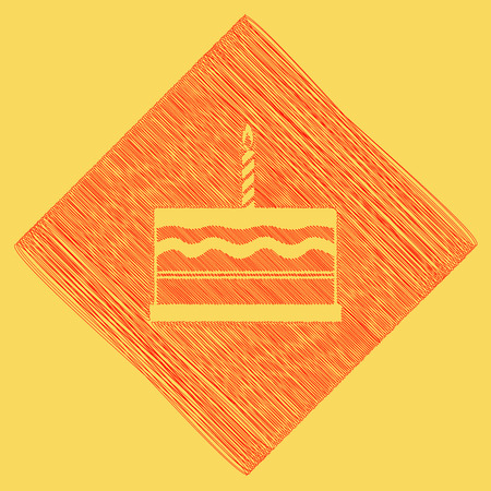 Birthday cake sign. Vector. Red scribble icon obtained as a result of subtraction rhomb and path. Royal yellow background. Illustration