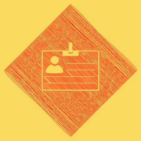 Id card sign. Vector. Red scribble icon obtained as a result of subtraction rhomb and path. Royal yellow background.